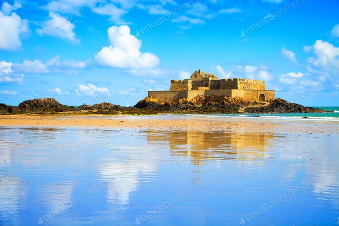 Saint Malo Fort National and beach, low tide. Brittany, France.
