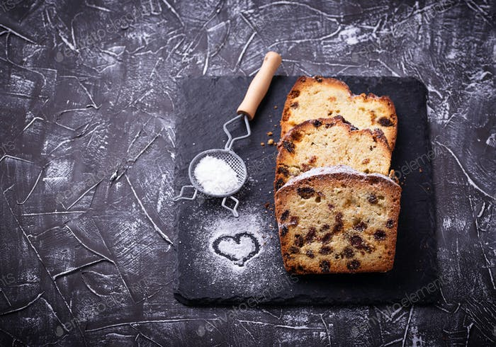 Homemade loaf cake with raisins