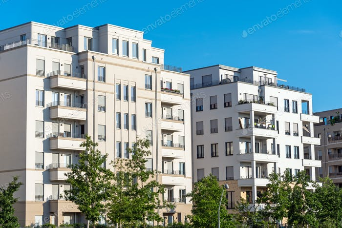 Modern white apartment houses in Berlin