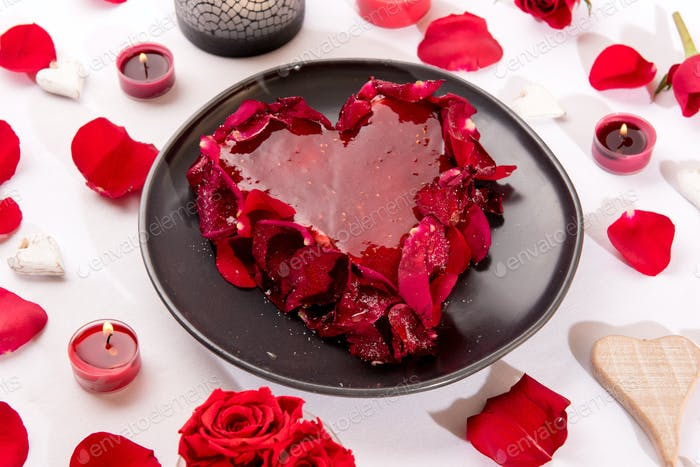 Romantic heart-shaped red cake
