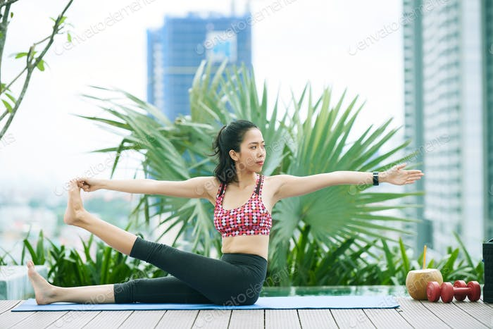 Healthy woman doing exercise
