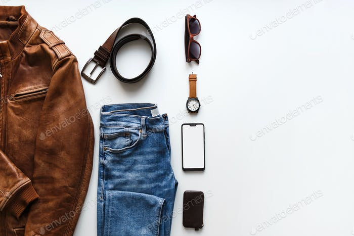 Male flat lay hipster summer fashion set of accessories and clothes on white. Copy space in right