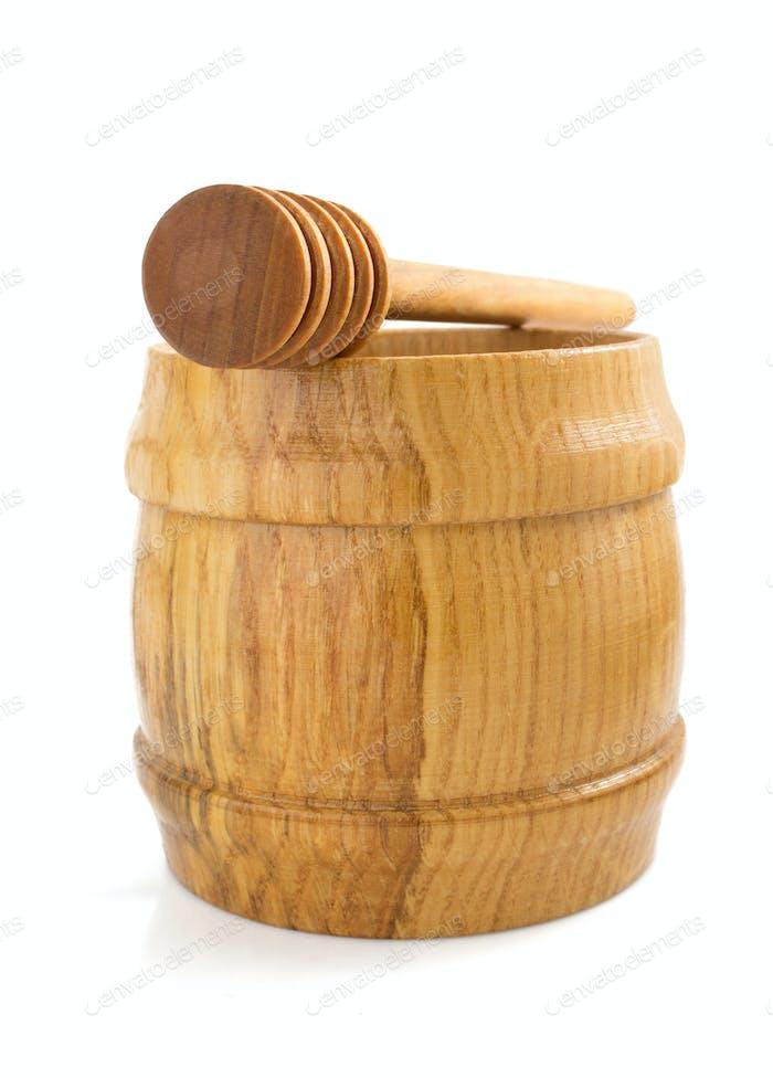 honey pot and stick on white