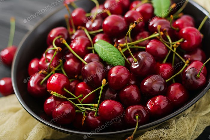 Ripe Sweet Cherry on a plate