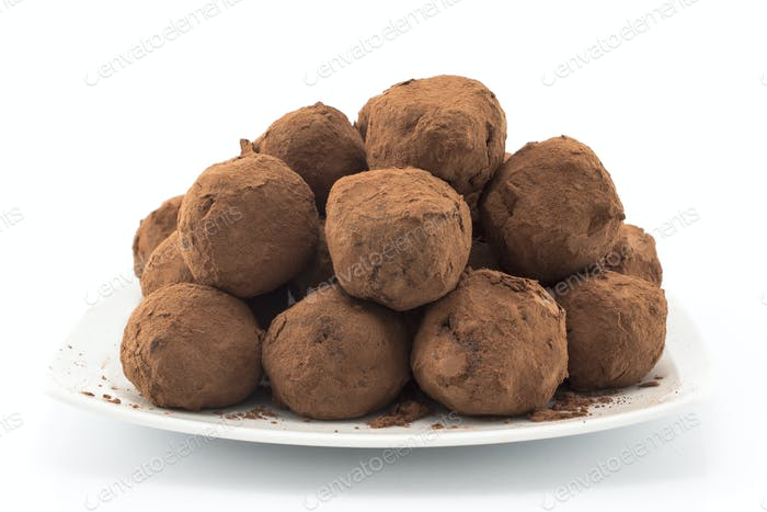 Chocolate Truffles on a White Background