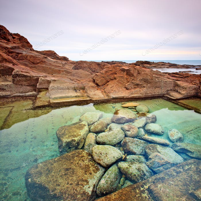 Le Vaschette water pool and stone landscape near Livorno. Italy