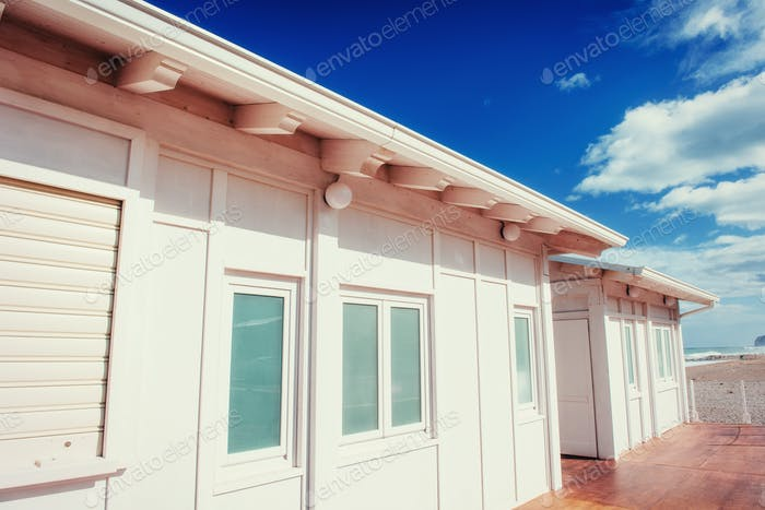 White wooden house in the summer. Sicily, Italy, Europe.