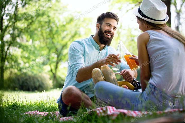 Beautiful young couple enjoying in a good mood and picnic day