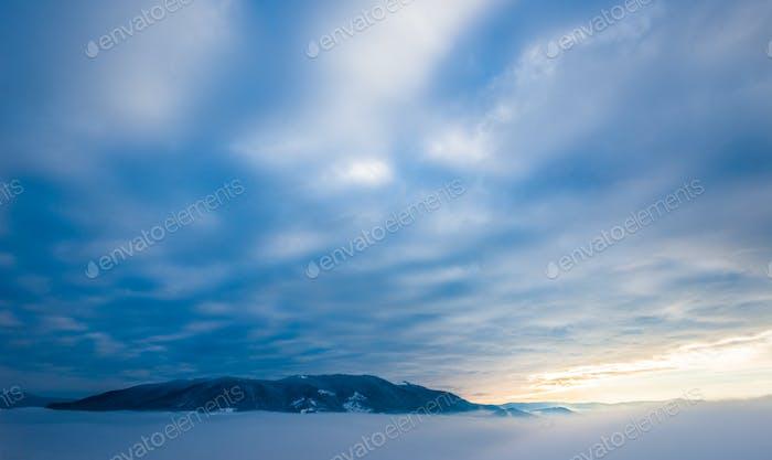 Beautiful magical views of the mountain peak