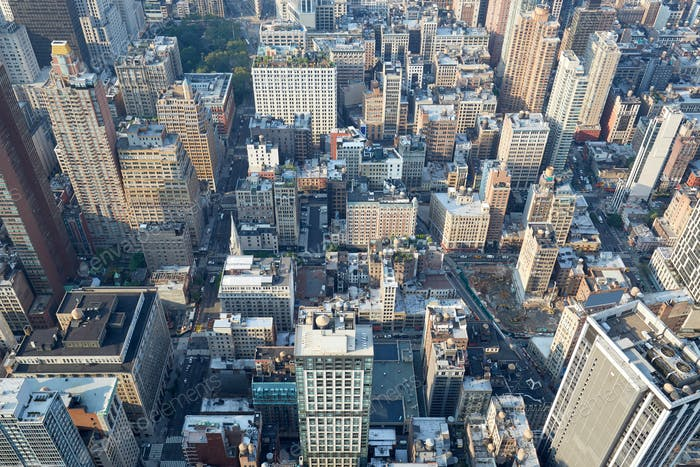 New York City, Manhattan aerial view with skyscrapers and fifth avenue