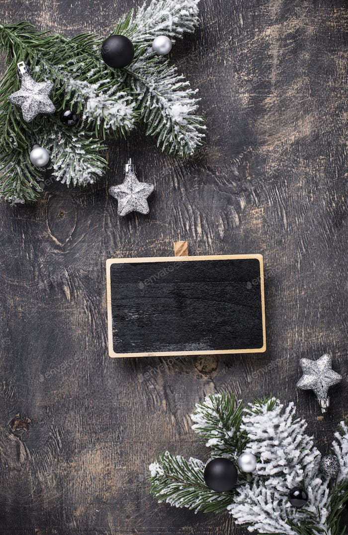 Christmas dark background with chalkboard