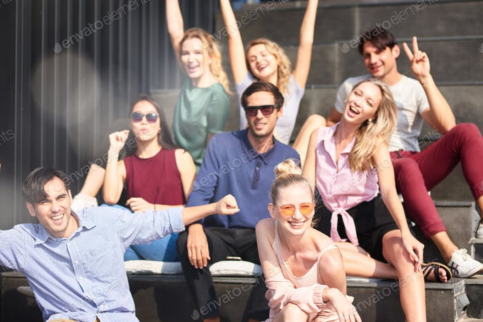 Positive group of friends expressing happiness