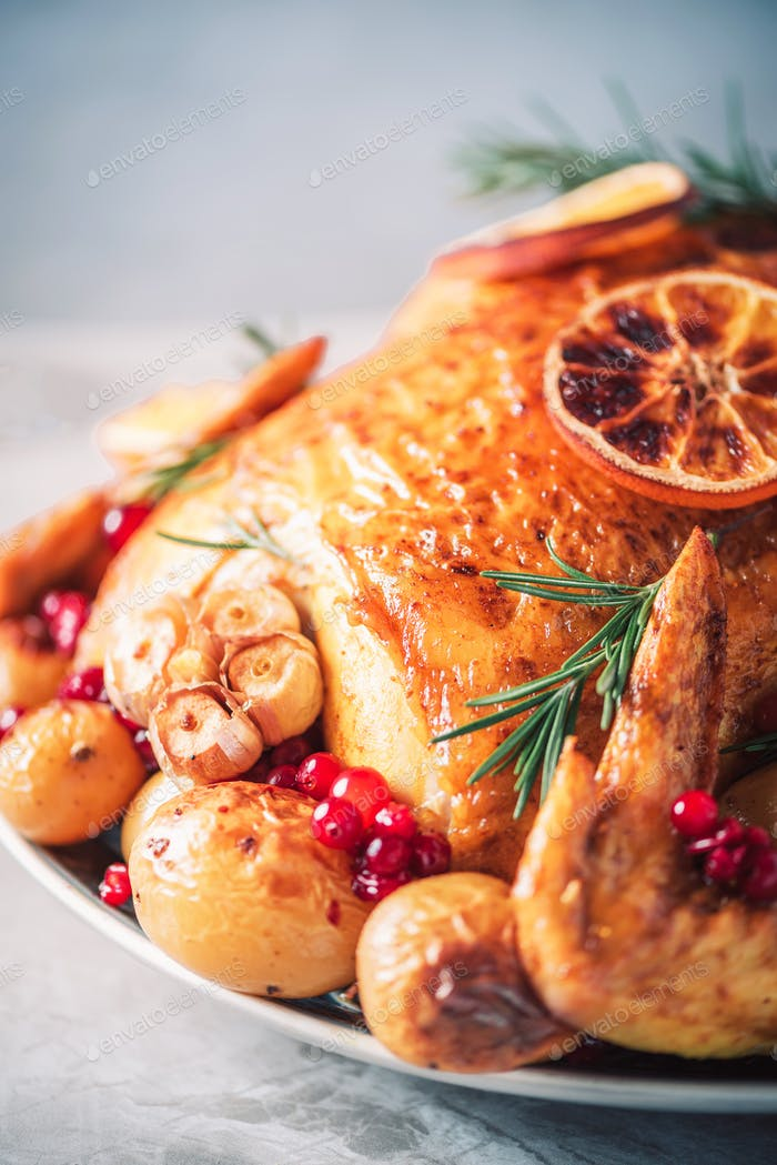 Roasted chicken with oranges, rosemary and cranberries on plate over concrete background