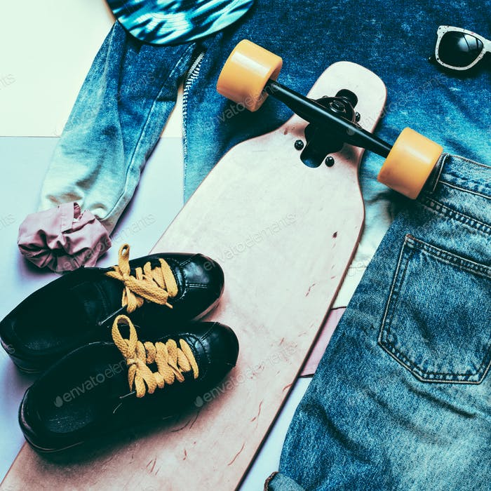 Set Fashion Denim clothing and accessories Cap Skateboard Sneake