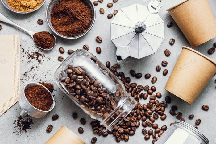 Ingredients for making coffee flat lay