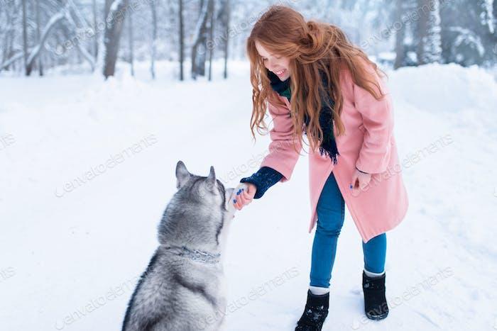 Hübsche Frau mit verspieltem Husky Hund