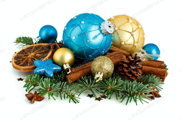 Turquoise and golden Christmas ornaments