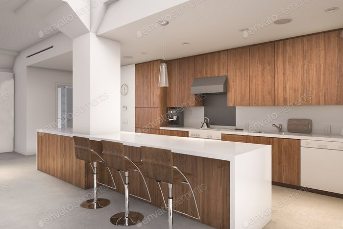 3d rendering contemporary wood kitchen