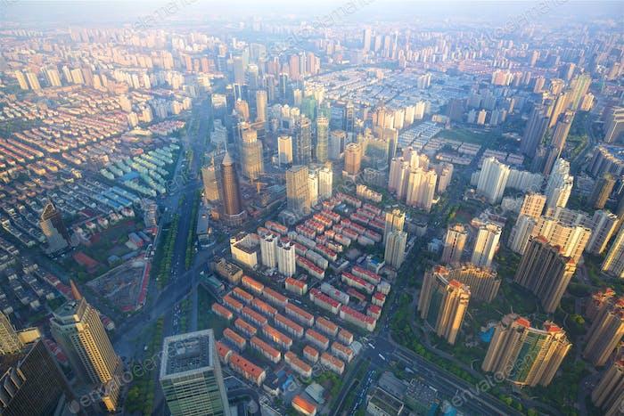 Shanghai aerial cityscape