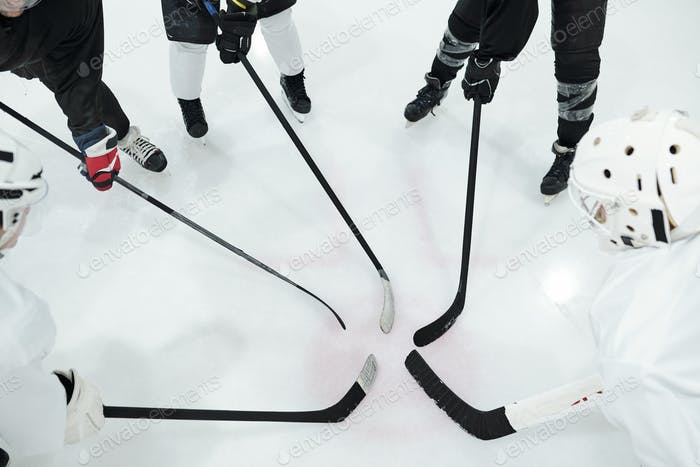 Group of hockey players in sports uniform, gloves and skates standing in circle