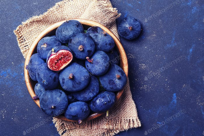 Blue figs on blue stone background