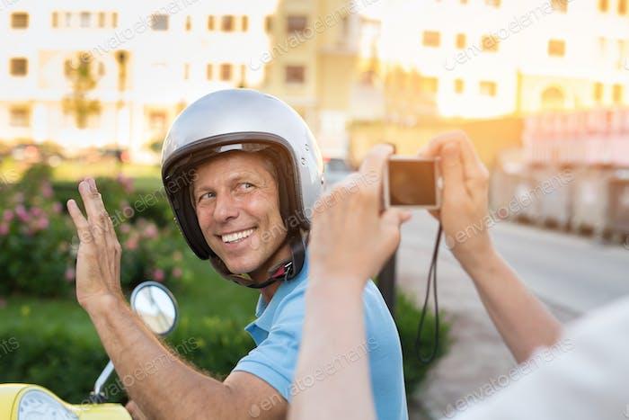 Mature man smiling at camera