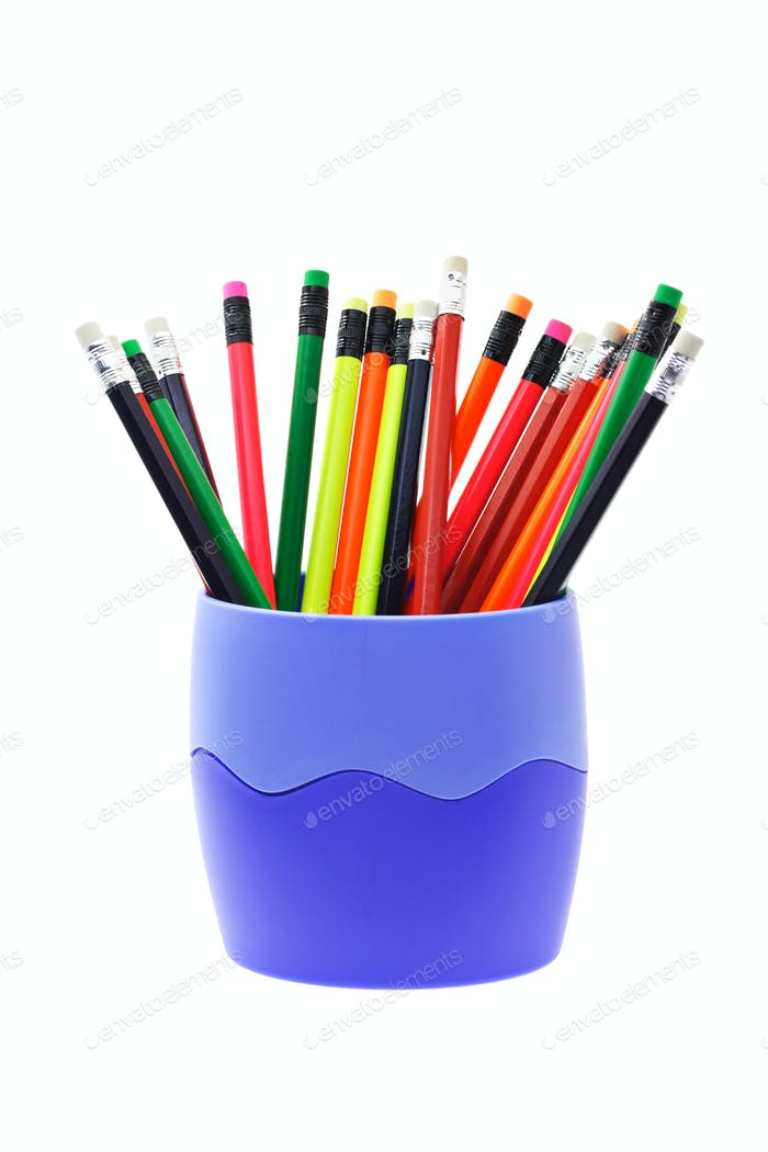 Colorful writing pencils in container