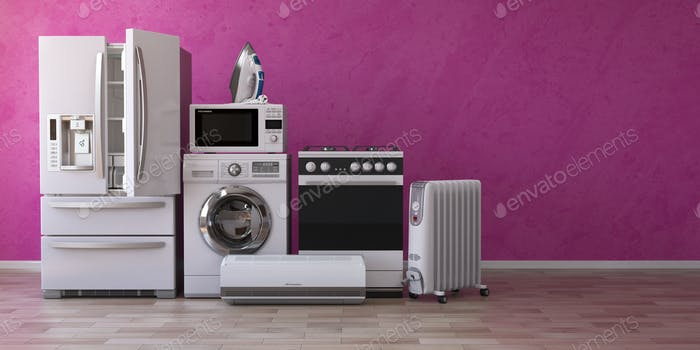 Set of household home appliancess on pink background. Kitchen te