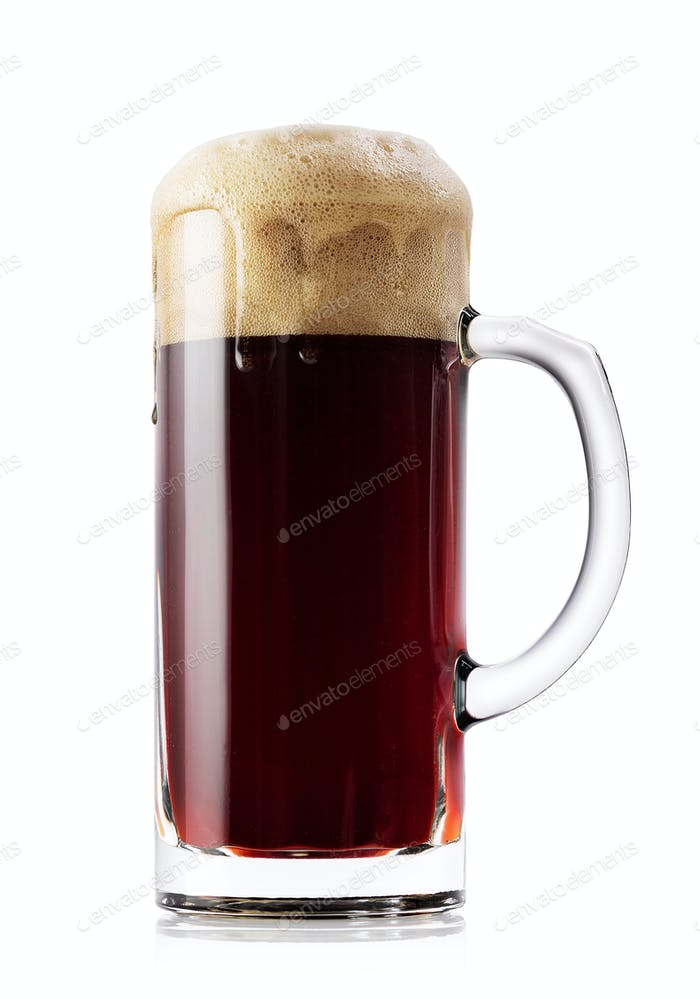 Mug of dark fresh beer