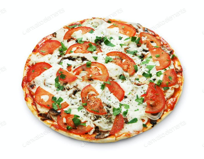 Delicious pizza with mushrooms and meat