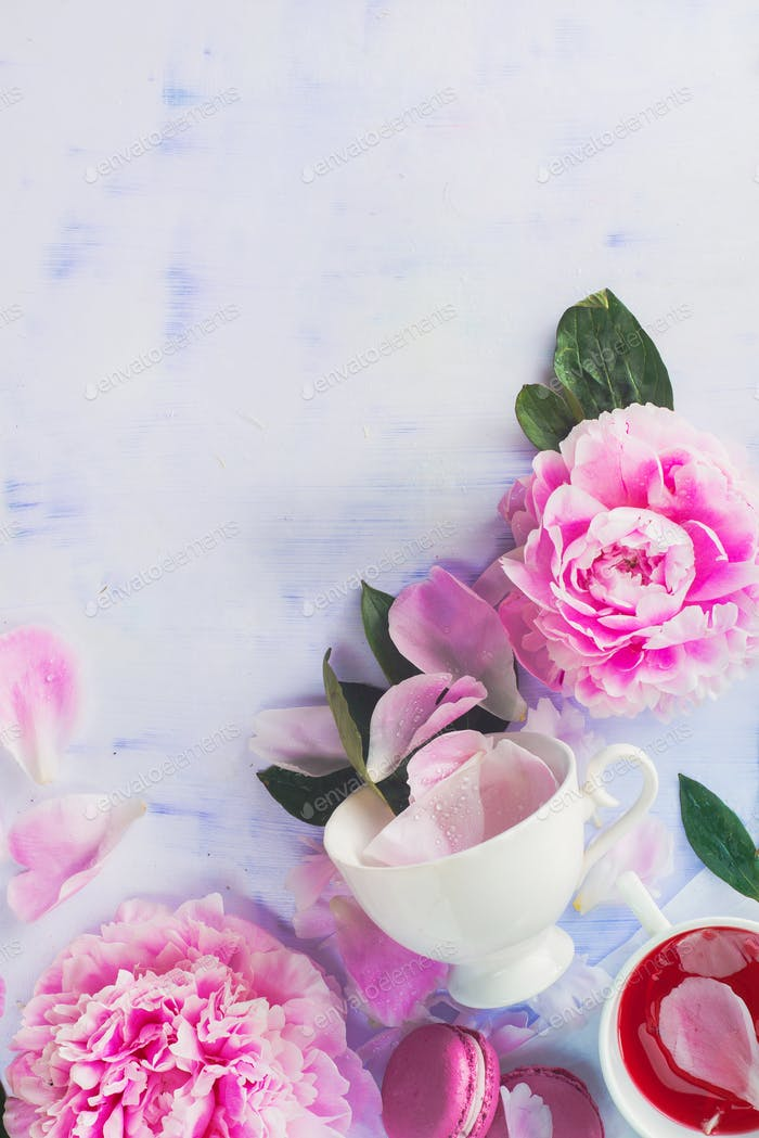 Minimal styled flat lay with peony flowers, petals and white coffee cup on a pastel background