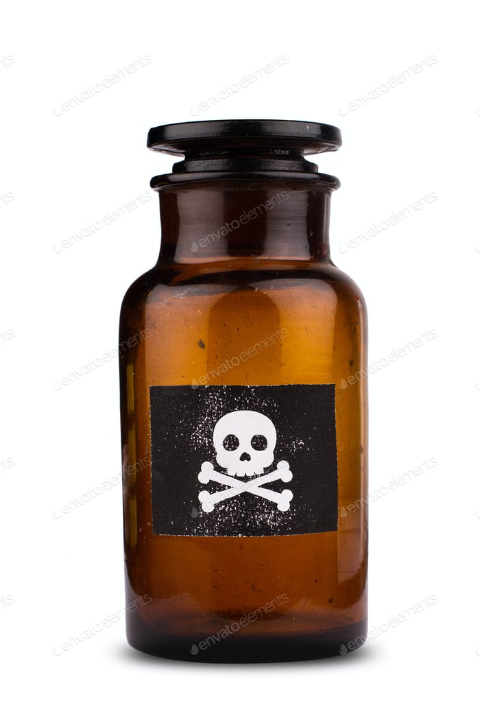 poison bottle isolated on white