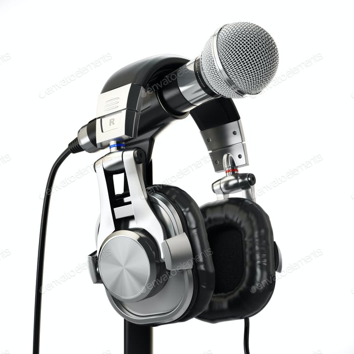 Microphone and headphones. Audio recording concept.
