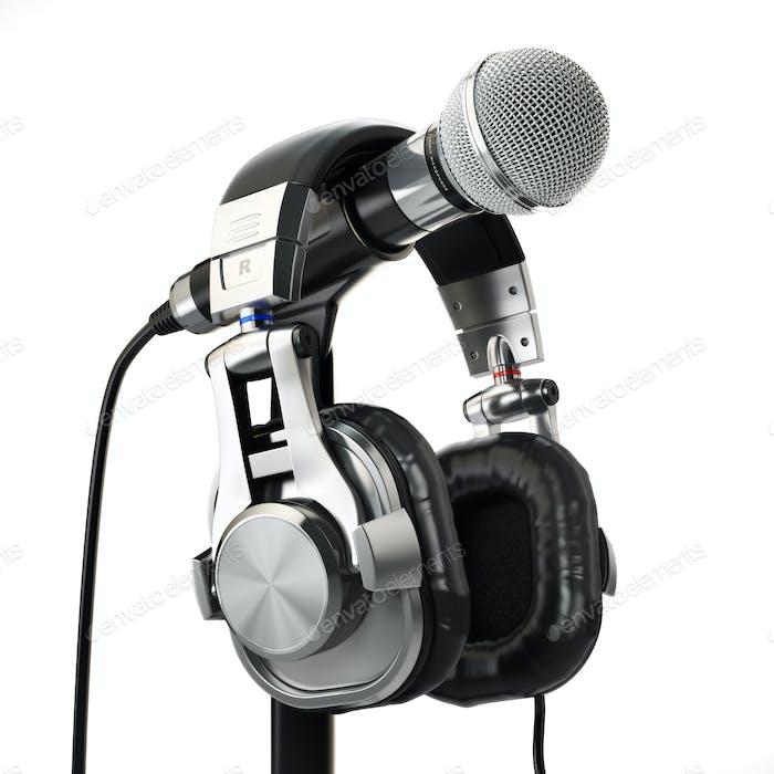 Mikrofon und Kopfhörer. Audio aufnahmekonzept.