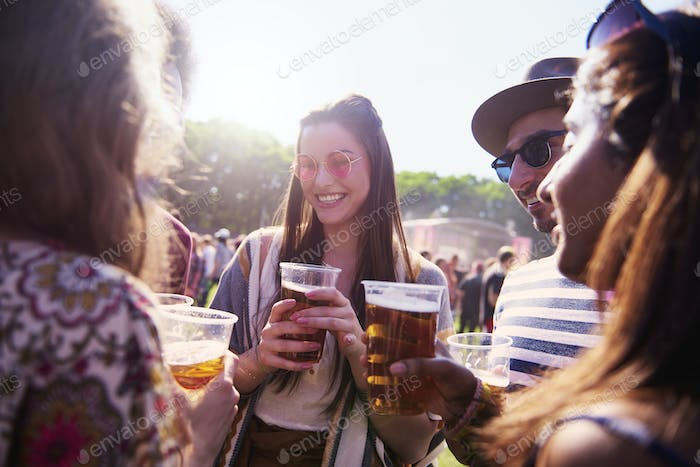 Group of friends at the music festival