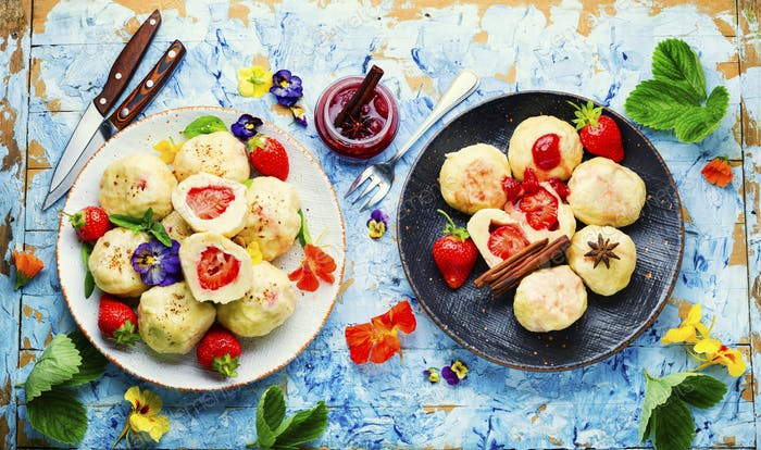 Stuffed strawberry dumplings,czech food