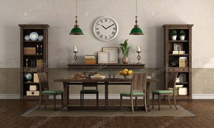 Dining room in rusic style with wooden furniture