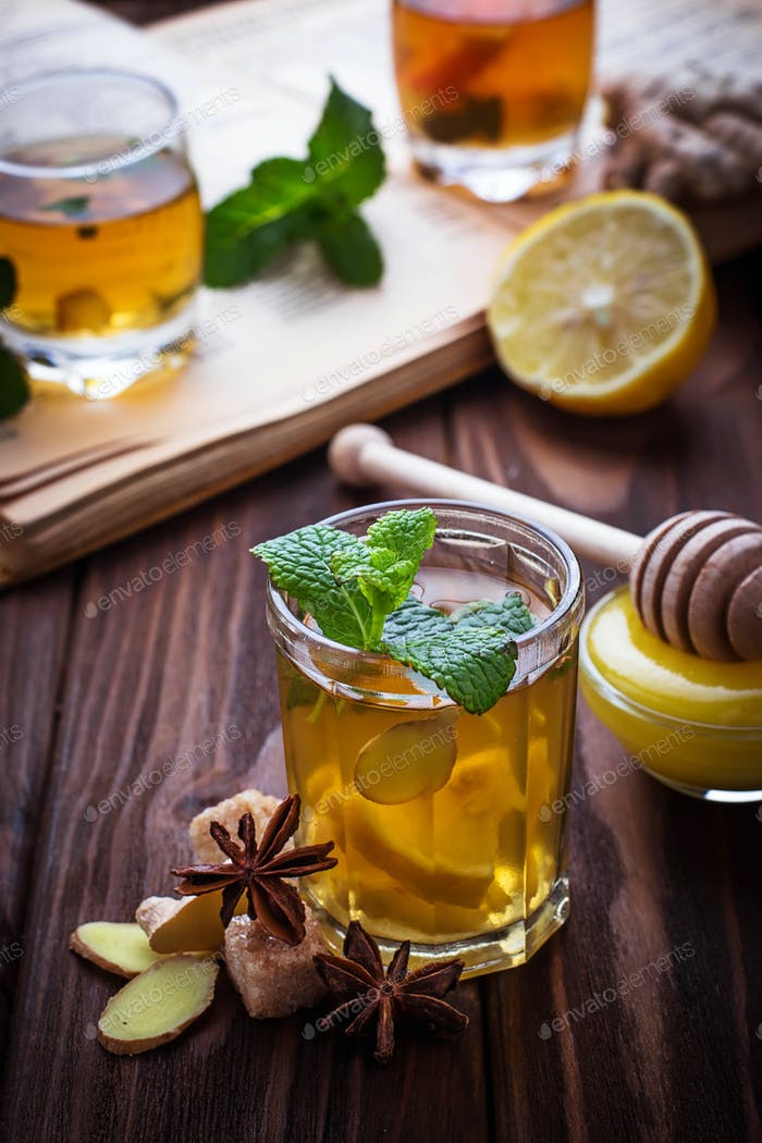 Tea with mint, lemon and ginger