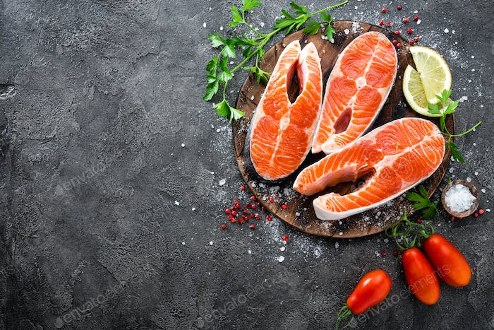 Raw salmon fish. Fresh salmon steaks