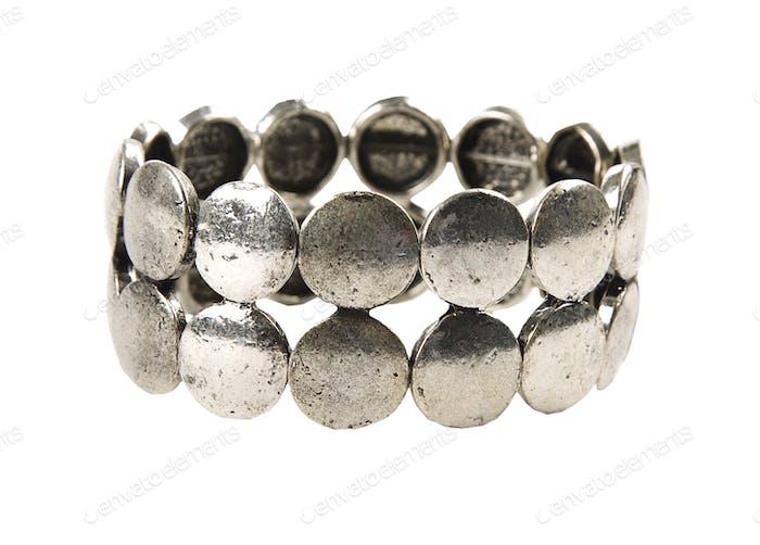 Raw metal silver bracelet
