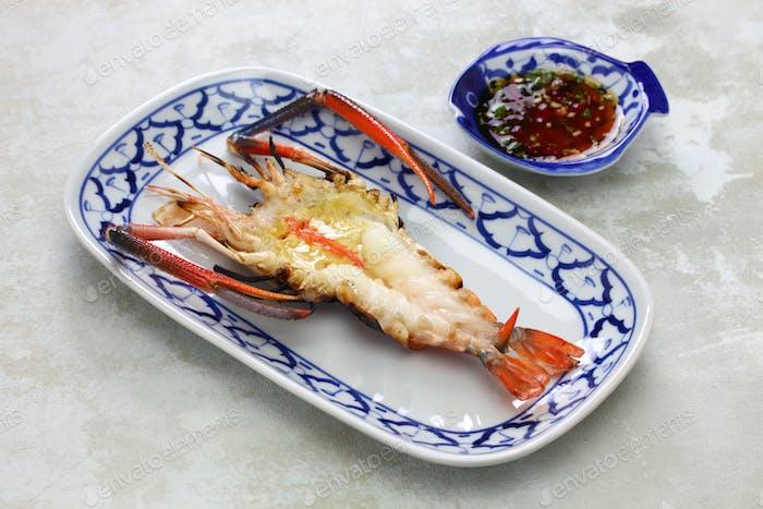 charcoal grilled giant river prawn, thai Ayutthaya cuisine