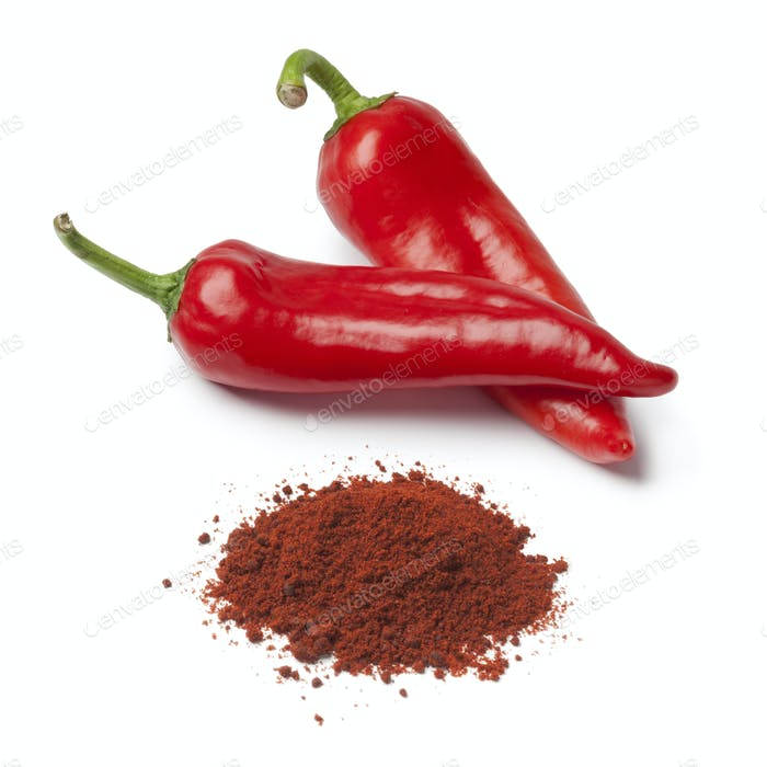 Fresh red sweet pepper and paprika powder