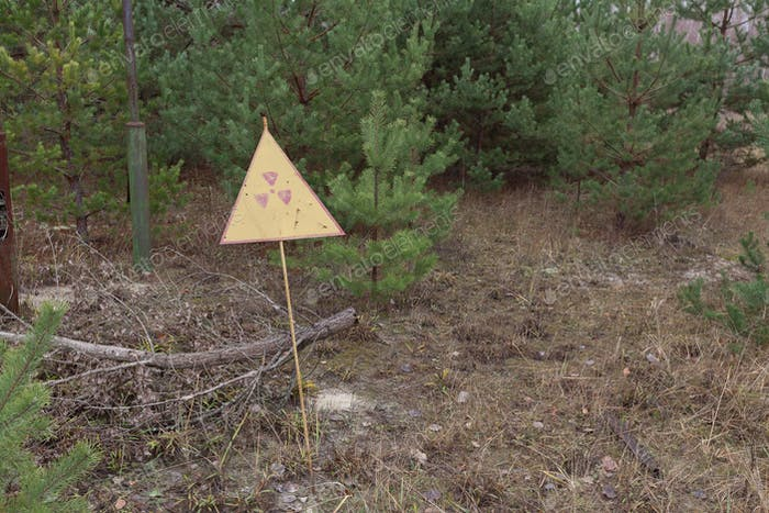 Radiation sign in forest near power plant in Chernobyl Exclusion Zone, Ukraine