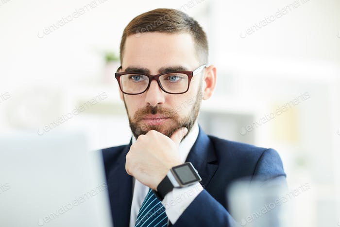 Businessman analyzing data