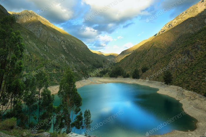 Turquoise lagoon in Laraos, Peru