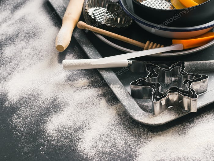 Baking tools and accessories. Christmas dark background