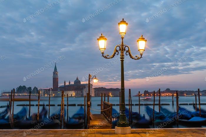 Venice gondolas on San Marco square, Venice, Italy.