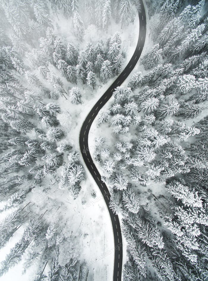 Aerial Image of a Snowy Road