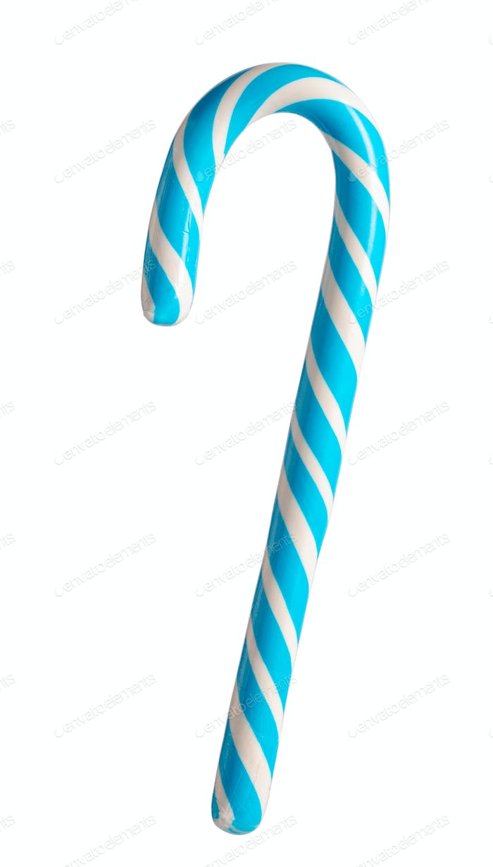 Blue candy cane isolated