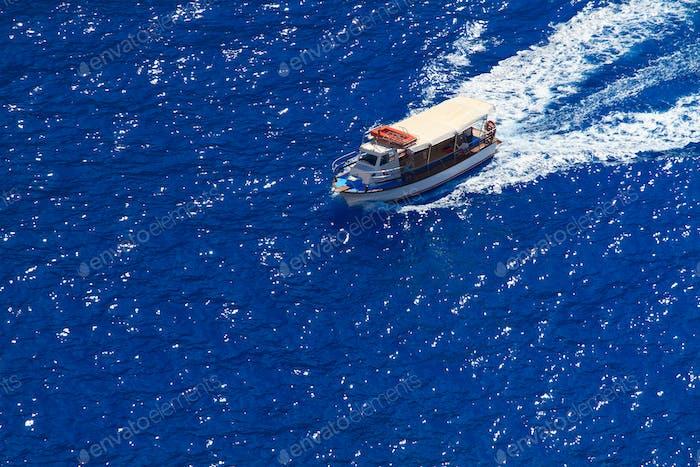 Motor boat in the Ionian sea